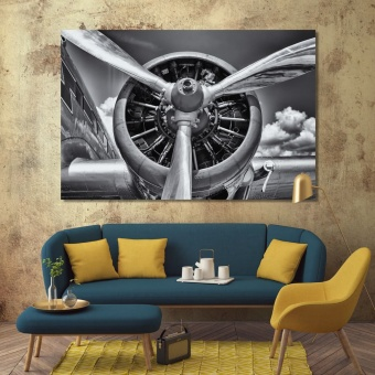 Airplane art prints on canvas, aircraft propeller wall decor