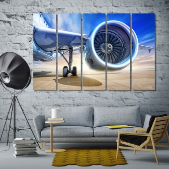 Airplane turbine home office wall art, aircraft canvas prints art