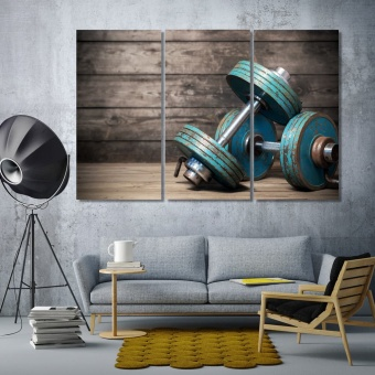 Dumbbells living room wall decor, gym framed wall pictures