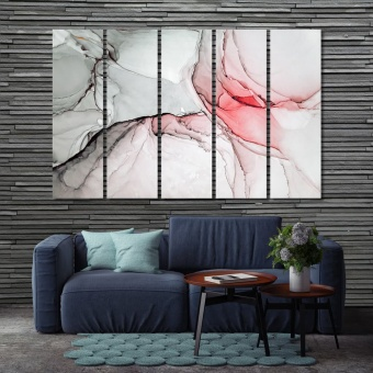 Marble red abstract wall art ideas for living room
