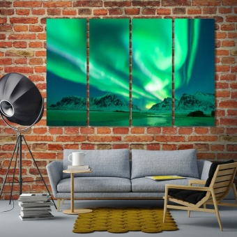 Magnificent northern lights wall art canvas painting