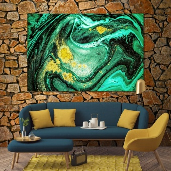 Green abstract modern art wall decor, abstract kitchen paintings