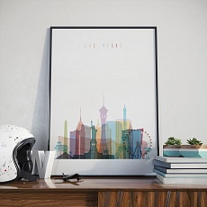 Las Vegas skyline print, Nevada home office wall decor