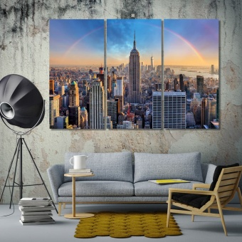 New York City skyline with rainbow, United States art for home