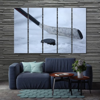 Hockey stick wall art for living room, hockey puck large wall decor