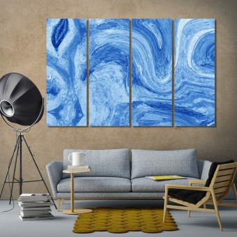 Blue abstract painting wall art ideas for living room