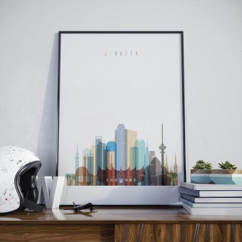 Jakarta wall decor poster, Indonesia cool office artwork