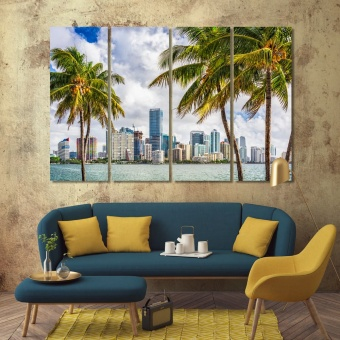Miami living room wall decor, Florida print canvas art