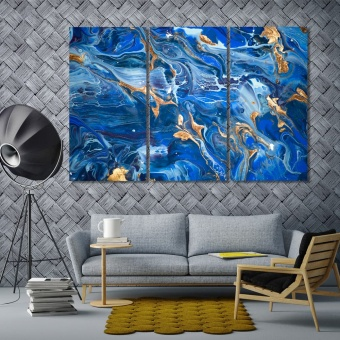 Blue abstract wall art for dining room, abstract canvas art prints