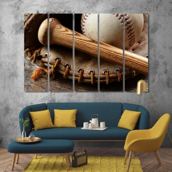Baseball artwork for the home, baseball bat decorations for wall