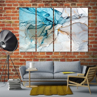Marble abstract living room wall decor ideas, paint stains artwork