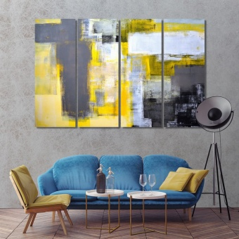 Modern abstract artistic prints on canvas, brush strokes home art