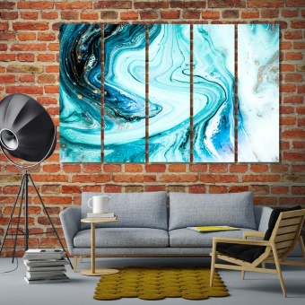 Beautiful blue painting with gold powder canvas prints art