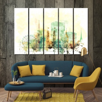 Zurich watercolor drawing, Switzerland wall canvas decor