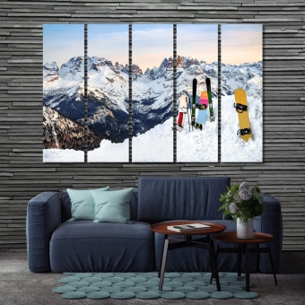 Snowboards home goods wall decor, mountain landscape canvas prints art