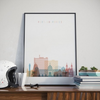 Port au Prince living room poster, Haiti wall art decor