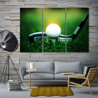 Golf equipment contemporary wall decor, golf art prints on canvas