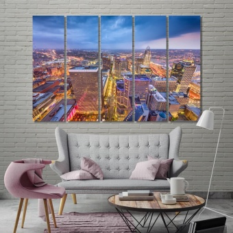 Cincinnati modern art wall decor, Ohio evening city canvas art