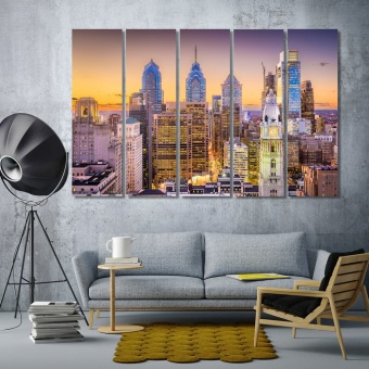Philadelphia city during twilight canvas art, Pennsylvania art on wall