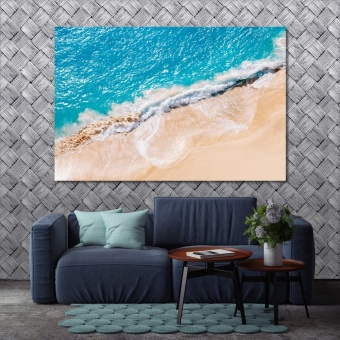 Sunny beach modern canvas wall art, beach canvas art prints