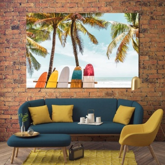 Surfboards cool wall decor, palm trees wall art canvas prints