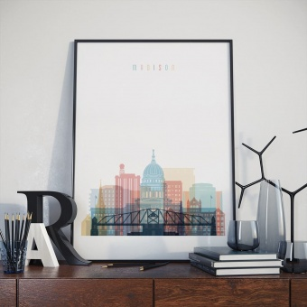 Madison art print, Wisconsin kitchen wall decor pictures