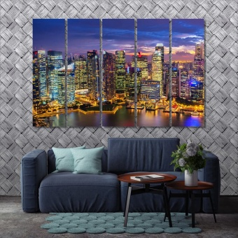 Singapore skyline of the night city wall art canvas prints