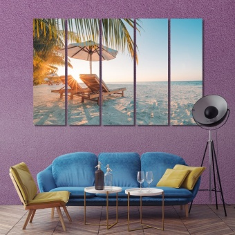 Beautiful beach canvas decor, summer holiday and vacation wall prints