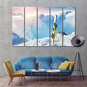 Ski artistic prints on canvas, office wall decorations