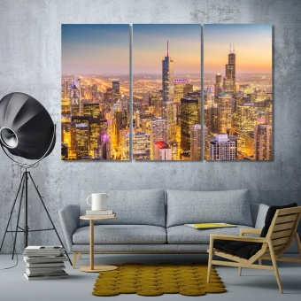 Chicago modern wall decor, Illinois canvas prints art