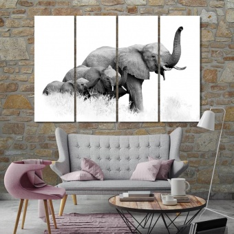 Elephants print canvas art, big animal wall art for home