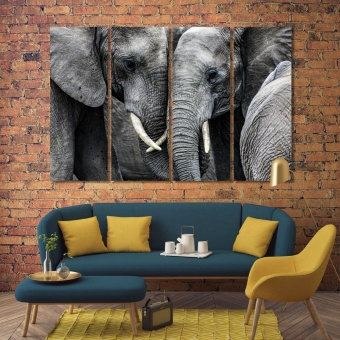 Elephants decorations for living room walls, big wild animals artwork