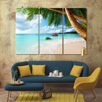 Beach living room art, coast modern art wall decor