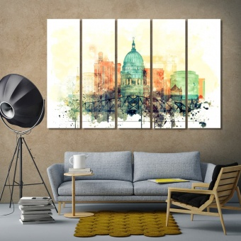 Madison watercolor drawing, Wisconsin home office wall decor
