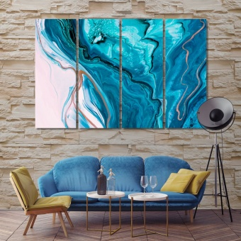 Blue abstract framed wall pictures for living room