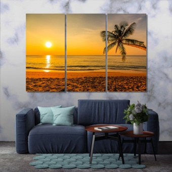 Beach at sunset print canvas art, beach beautiful wall art