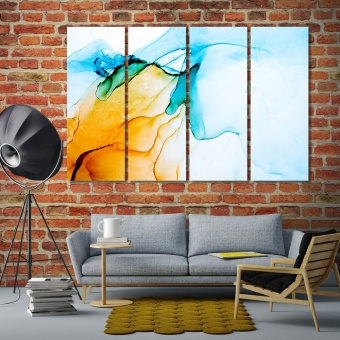 Orange & blue abstract wall decor and home accents