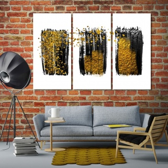 Gold and black abstract wall artistic prints on canvas