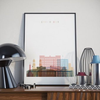 Green Bay art print, ‎Wisconsin wall decorations for bedrooms