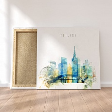 Tbilisi canvas decor, Georgia watercolor drawing art
