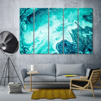 Turquoise abstract wall decorating ideas for bedrooms