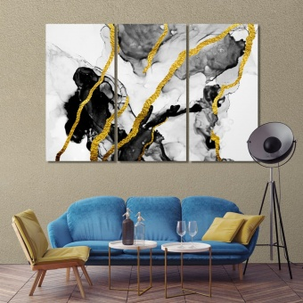 Black & gold abstract wall art canvas prints, marble abstract artwork