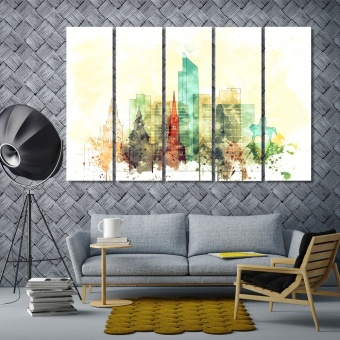 Oslo colorful wall decor, Norway art printing on canvas