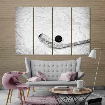 Hockey puck artistic prints on canvas, hockey office artwork ideas