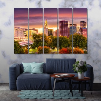 Hartford large contemporary wall art, Connecticut print canvas art