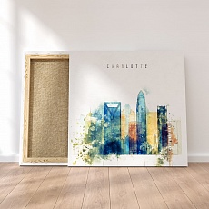 Charlotte modern wall art for living room, North Carolina watercolor