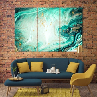 Turquoise abstract wall decor and home accents, cool abstract art