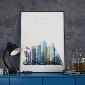 Abu Dhabi wall decor poster, United Arab Emirates picture decor