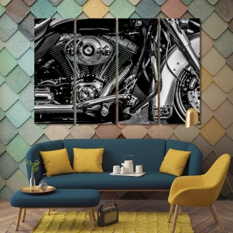 Motorcycle modern wall decorations, black & white artwork