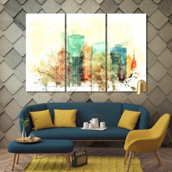 Milwaukee watercolor drawing on canvas, Wisconsin cool wall paintings